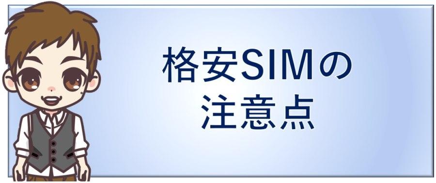 格安SIMの注意点