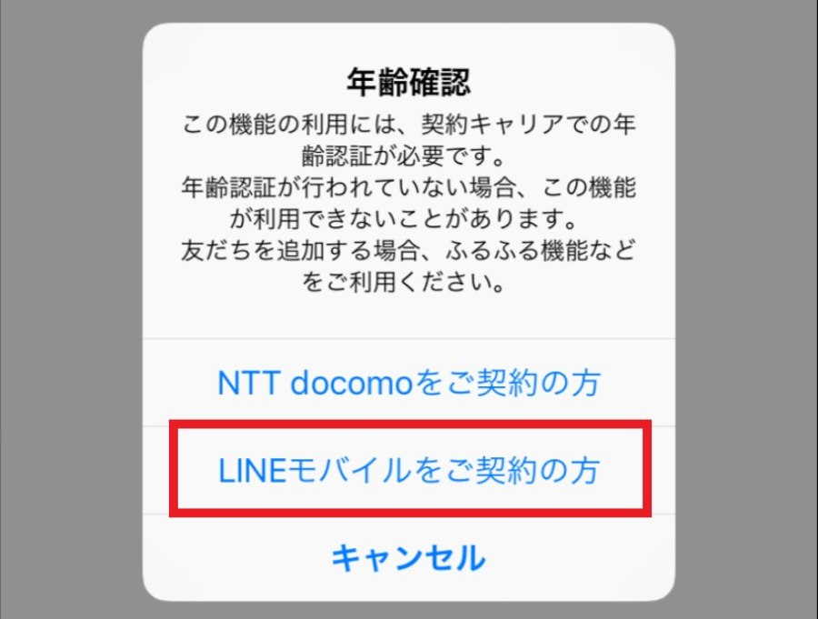 LINEモバイルでLINEの年齢確認