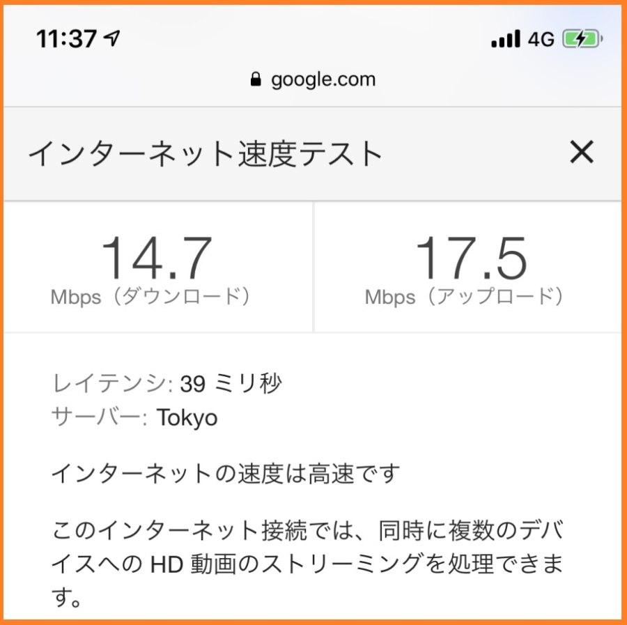 楽天モバイルのスーパーホーダイの11時台の通信速度
