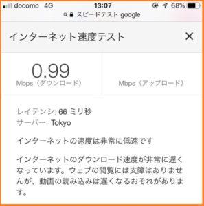 楽天モバイルのスーパーホーダイの1Mbps時の速度