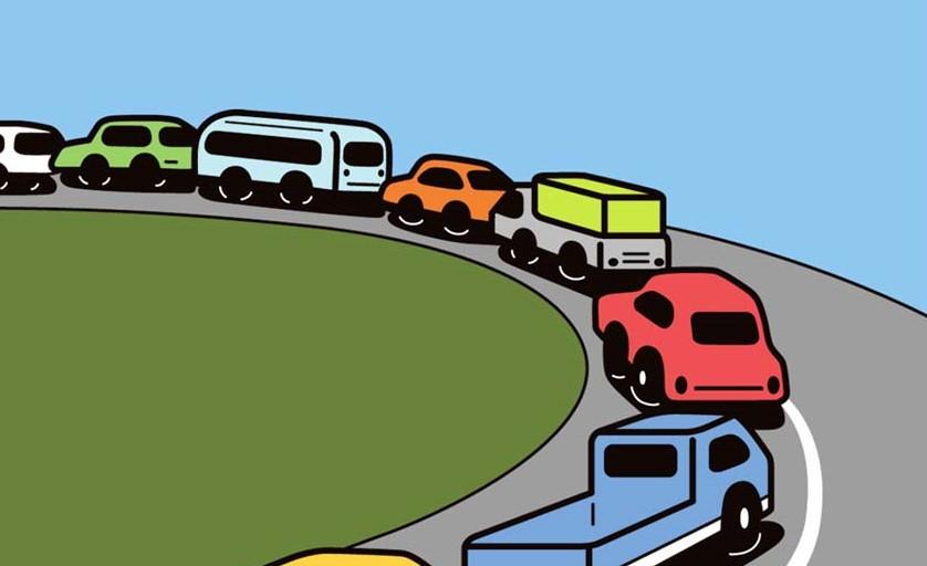 車が渋滞するイラスト