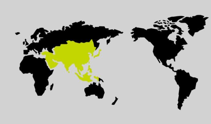 限界突破WiFiのアジアの地図