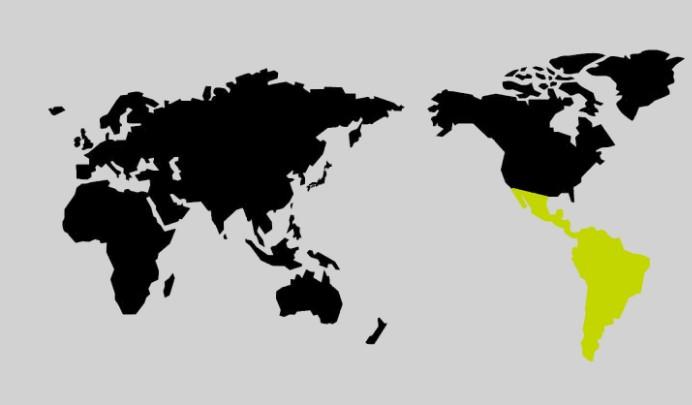 限界突破WiFiの南アメリカの地図