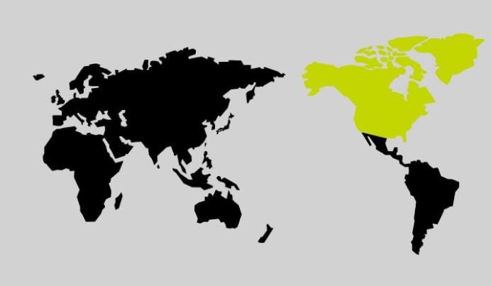 限界突破WiFiの北アメリカの地図